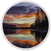 New Years Eve Sunset Round Beach Towel