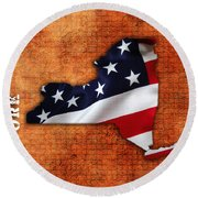 New York American Flag State Map Round Beach Towel by Marvin Blaine