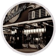 New York At Night - Brooklyn Diner - Sepia Round Beach Towel by Miriam Danar