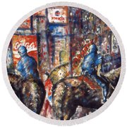 New York Broadway At Night - Oil On Canvas Painting Round Beach Towel