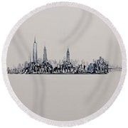 New York City 2013 Skyline 20x60 Round Beach Towel