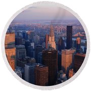 New York City At Dusk Round Beach Towel by Emmy Marie Vickers