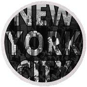 New York City - Black Round Beach Towel