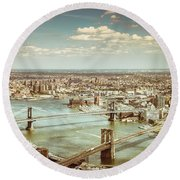 New York City - Brooklyn Bridge And Manhattan Bridge From Above Round Beach Towel