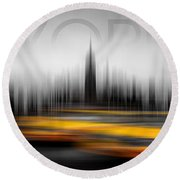 New York City Cabs Abstract Round Beach Towel