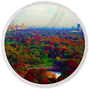 New York City Central Park South Round Beach Towel