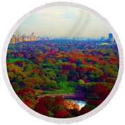 New York City Central Park South Round Beach Towel