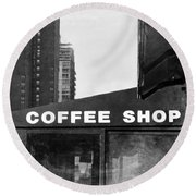 Round Beach Towel featuring the photograph New York City Coffee Shop In Black And White by Brooke T Ryan