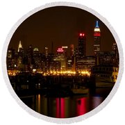 Round Beach Towel featuring the photograph New York City by Dave Files