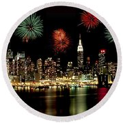 New York City Fourth Of July Round Beach Towel