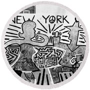 New York City Graffiti Round Beach Towel