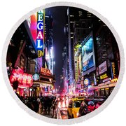 New York City Night Round Beach Towel by Nicklas Gustafsson