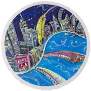 New York City Nights Round Beach Towel by Jason Gluskin