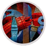 Round Beach Towel featuring the photograph New York City Park Avenue Sculptures Reimagined by Chris Lord