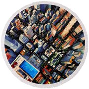 New York City Sky View Round Beach Towel by Mona Edulesco