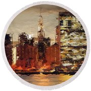 New York City Skyline Abstract 2 Round Beach Towel by Anthony Fishburne