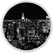 New York City Skyline At Night Round Beach Towel