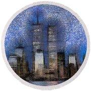 New York City Blue And White Skyline Round Beach Towel