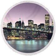 New York City Skyline Round Beach Towel by Jon Neidert