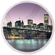 New York City Skyline Round Beach Towel by Jon Neidert