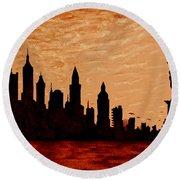 New York City Sunset Silhouette Round Beach Towel