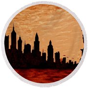 New York City Sunset Silhouette Round Beach Towel by Georgeta  Blanaru