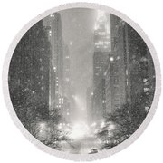 New York City - Winter Night Overlooking The Chrysler Building Round Beach Towel