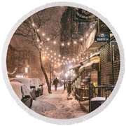 New York City - Winter Snow Scene - East Village Round Beach Towel