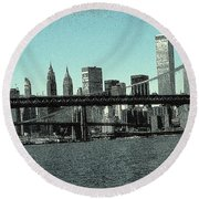 New York Downtown Manhattan Skyline - Blue Panorama Round Beach Towel
