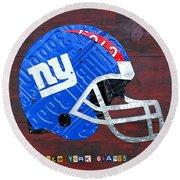 New York Giants Nfl Football Helmet License Plate Art Round Beach Towel