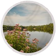Round Beach Towel featuring the photograph New York Lake by Debbie Green