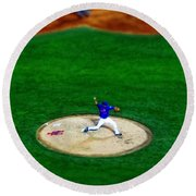 New York Mets Pitcher Abstract Round Beach Towel