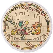 New York Mets Poster Vintage Round Beach Towel