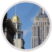 Round Beach Towel featuring the photograph New York New York by Ira Shander