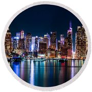 New York Panorama By Night Round Beach Towel by Mihai Andritoiu