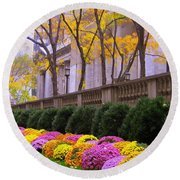Round Beach Towel featuring the photograph New York Public Library by Dora Sofia Caputo Photographic Art and Design