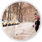 New York Rain - Greenwich Village Round Beach Towel