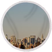 Round Beach Towel featuring the photograph New York City Skyline by Kerri Farley