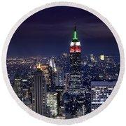New York Skyline Night Color Round Beach Towel
