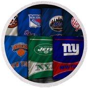 New York Sports Teams Round Beach Towel
