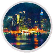 New York State Of Mind Abstract Realism Round Beach Towel