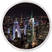 New York Times Square Round Beach Towel by Matt Malloy
