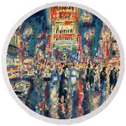 New York Times Square - Watercolor Round Beach Towel by Art America Gallery Peter Potter