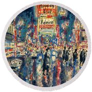 New York Times Square - Watercolor Round Beach Towel
