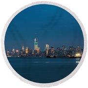 New York Twilight Round Beach Towel