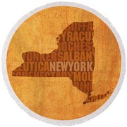 New York Word Art State Map On Canvas Round Beach Towel