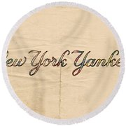 New York Yankees Logo Vintage Round Beach Towel by Florian Rodarte