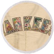 New York Yankees Poster Art Round Beach Towel by Florian Rodarte