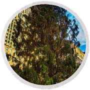 Round Beach Towel featuring the photograph New York's Holiday Tree by Chris Lord