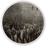Newgate Prison Exercise Yard Round Beach Towel